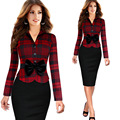High Quality 2016 Women Elegant V-neck High Waist Pencil Bodycon Scallops Plaid Dress Long Sleeves Business Dress Suit