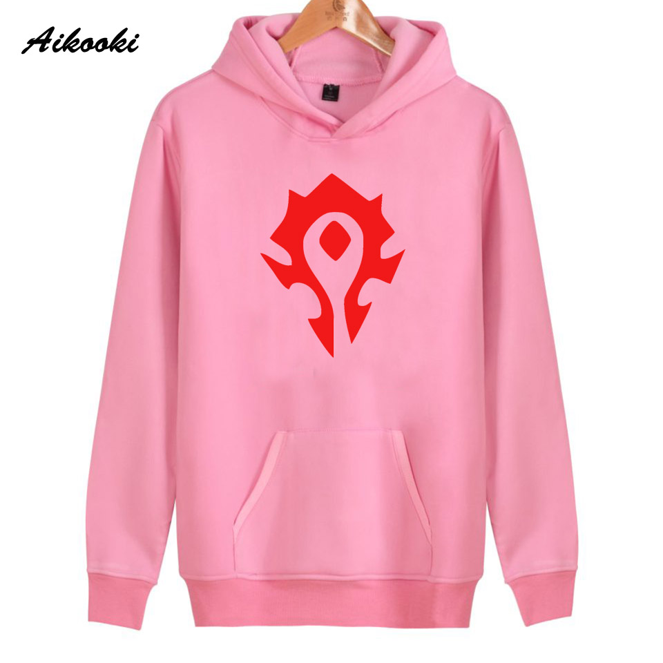 2018 Aikooki WOW Hoodies Women/Men ALLIANCE&Horde Pink Cotton Harajuku Womens Hoodies and Sweatshirt WOW Clothes