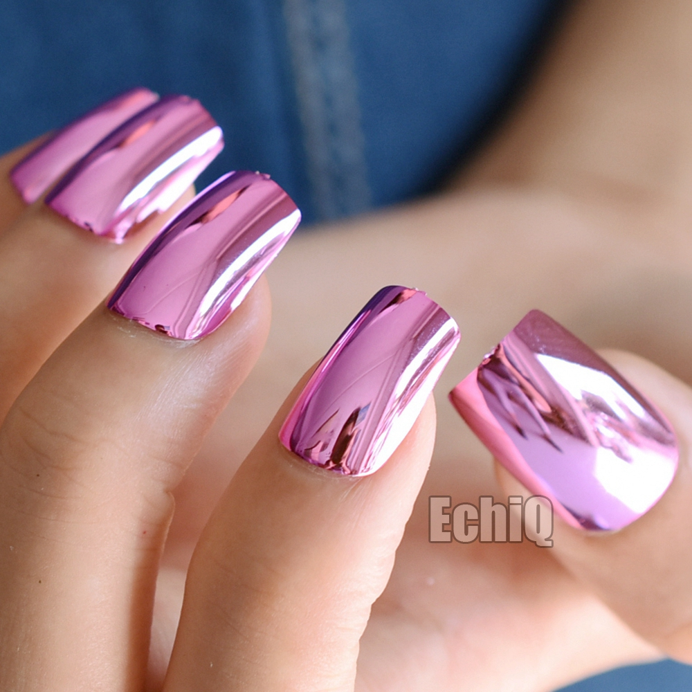ᗕLong Square Press On Nails Rose Red Mirror Metal False Nails ...