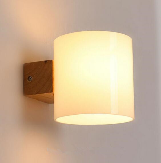 Simple moderna de madera maciza l mpara de pared led luces for Luces de pared interior