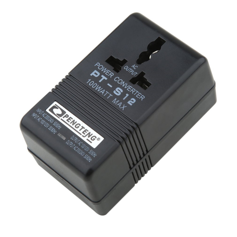 Us 10 8 27 Off Professional 100w Max Converter Adapter 110v 120v To 220v 240v Dual Voltage Ac Black Travel Need In