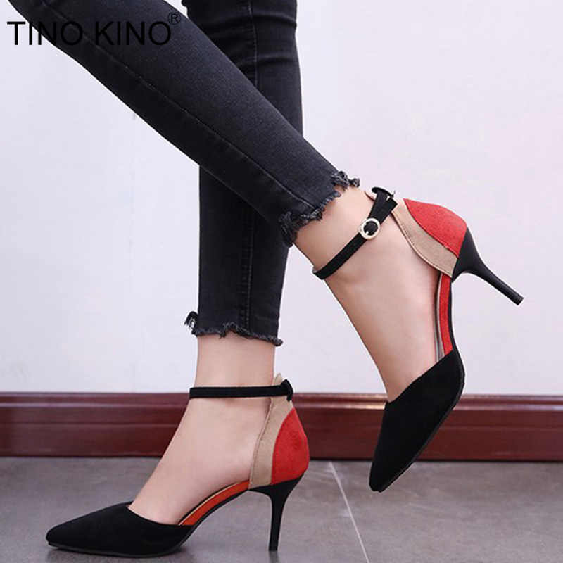 e7ad0e92c8d Women Ankle Strap Two Pieces Spring Pumps Ladies Buckle Pointed Toe New  Suede Thin High Heels