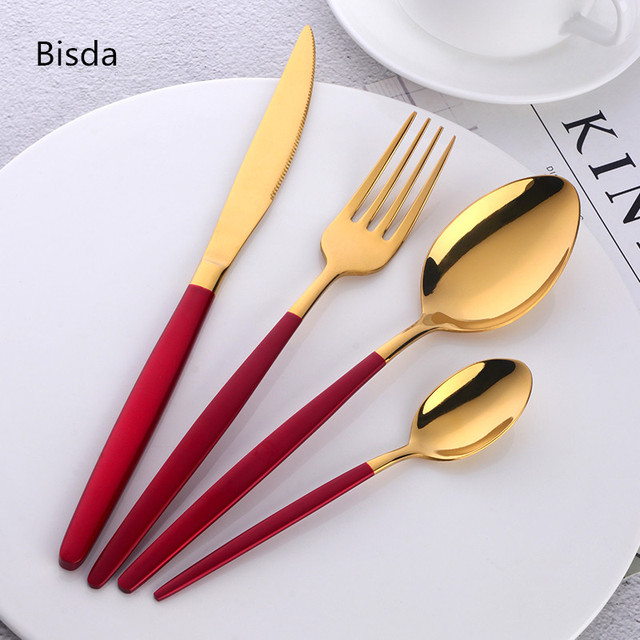 4 Pieces Flatware Set Gold Plated And White Handle Stainless Steel Dinnerware Hand Polish Dinner Fork Knife Restaurant