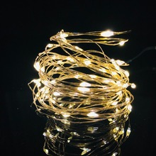 купить ECLH 2M 5M 10M 100 Led Strings Copper Wire 3XAA Battery Operated Christmas Wedding Party Decoration LED String Fairy Lights дешево