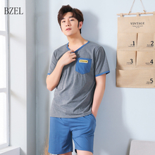 BZEL Pajama Set Men Cotton Nightwear Summer Homewear Homme S