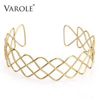VAROLE High Quality Gothic Tattoo Chokers Hollow Out Metal Wire Woven Necklaces for Women Gold Color Necklace Jewelry Collier