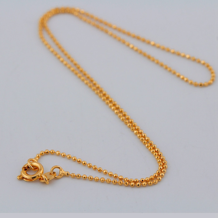 Yellow Gold Color Beads Chain Short Choker Necklace For Women Boys