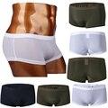Hot! Verão Nova Chegada Quente de Moda Clássico Calças de Seda Gelo Seamless Suave Underwear Homens Sexy Cueca Boxer de Seda Deslizamento Interior