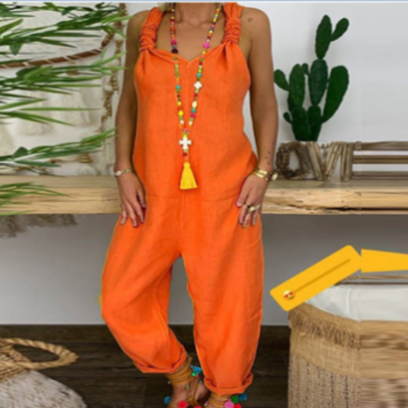 Women Summer Holiday Casual Sleeveless Jumpsuit Loose Wide Leg Vacation Long Playsuit Plus Size M-3XL
