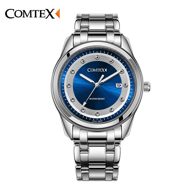 COMTEX  Mens Watch Famous Brand Luxury Watch Quartz Stainless Steel Clock Simple Silver Business Wristwatch Relogio Masculino mcykcy famous brand men stainless steel watch silver blue fashion luxury electronic clock dress relogio quartz watch my011