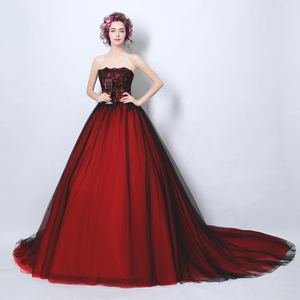 Image 2 - Walk Beside You Real Black and Burgundy Evening Dresses Strapless Lace Ball Gown Floor Length Lace UP Back Long Prom Gown