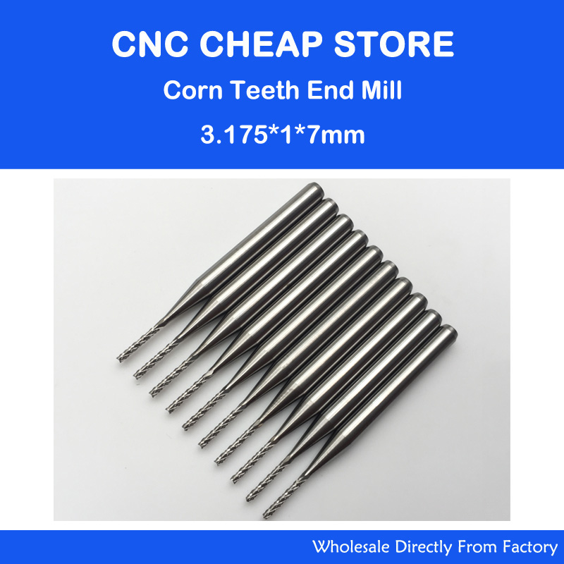 10PCS 3.175*1.0*7.0mm CNC machine Engraving Edge Cutter,solid carbide PCB End Mill,PCB corn cutter,Mini Milling cutter bit 10pcs box 1 8 inch 0 8 3 17mm pcb engraving cutter rotary cnc end mill milling cuter drill bits