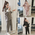 2017 new winter, Korean fashion, hooded loose, thick sweater, female high waisted, curling pants suit, two female