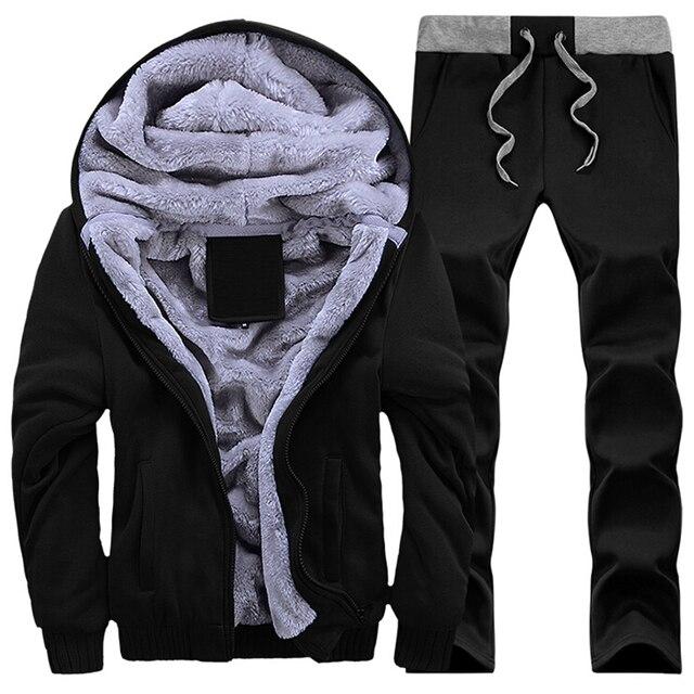 Men Tracksuit Set Men's Casual fleece Warm Winter Jacket+pants suit Men's Sportswear Outwear suits conjunto masculino Tracksuit