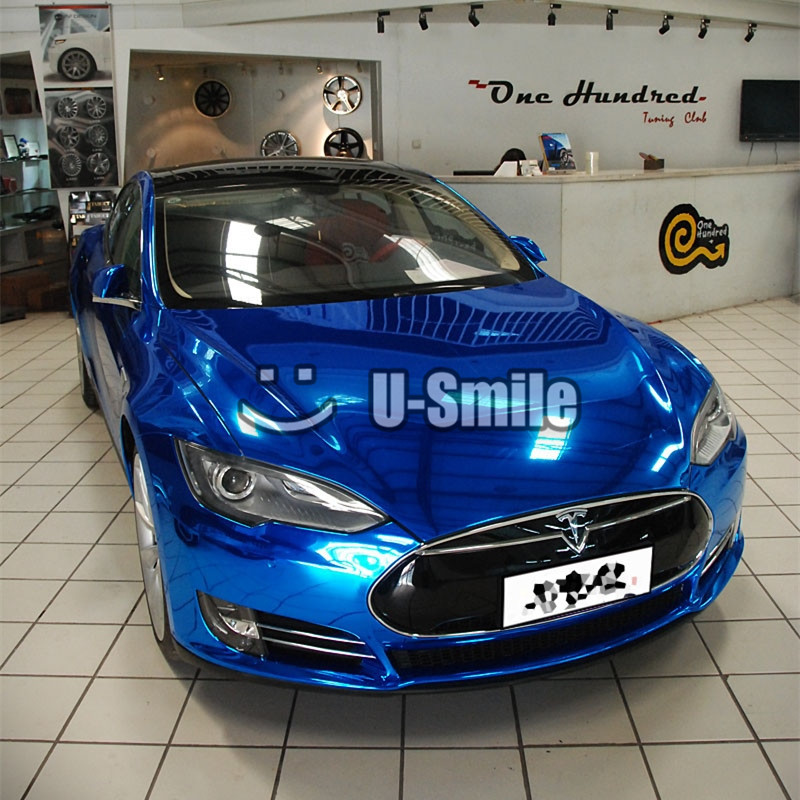 Mirror Chrome Blue Wrap Vinyl Decal Sticker Film Air Bubble Free For Car Wrapping Film