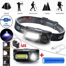 USB Перезаряжаемый 6 режимов COB светодиодный налобный светильник головной светильник фонарь вспышка светильник# D