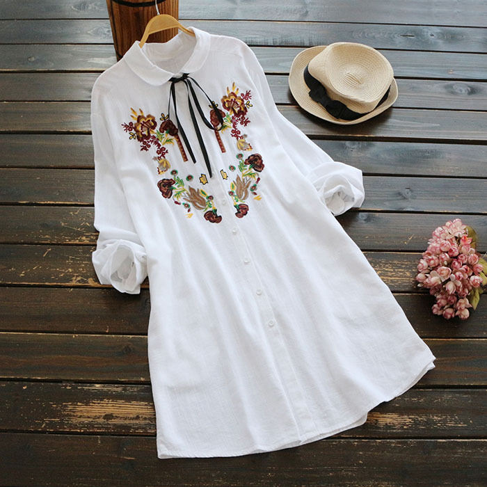 autumn women sweet necklaces blouses embroidered long sleeved shirts white blusas femininas camisa