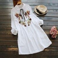 autumn women sweet necklaces blouses embroidered long sleeved shirts white blusas femininas camisa