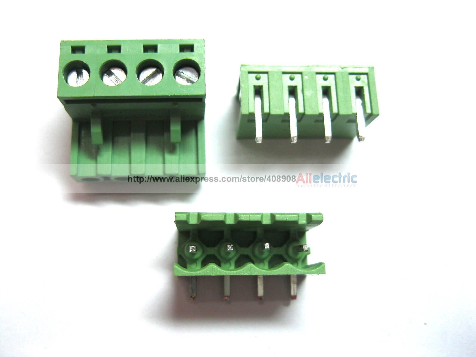 цена на 50 Pcs 5.08mm Angle 4 Pin Screw Terminal Block Connector Pluggable Type Green