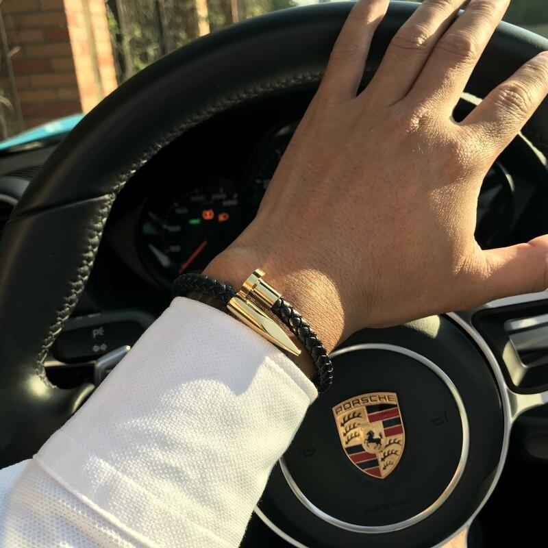 Mcllroy pulsera de los hombres/cuero/oro/acero inoxidable/pulseira masculina 6mm armadura de cuero genuino uñas encanto pulseras para hombre 2018