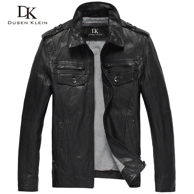 Дюсенов Klein Кожаные куртки мужские из натуральной овчины тонкий дизайнерские весенние черные кожаная одежда DK056