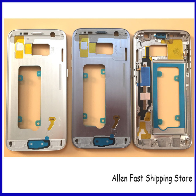 100% Original New For Samsung Galaxy S7 G930 Middle Frame Housing Bezel Mid Chassis With Side Button Key Replacement Parts