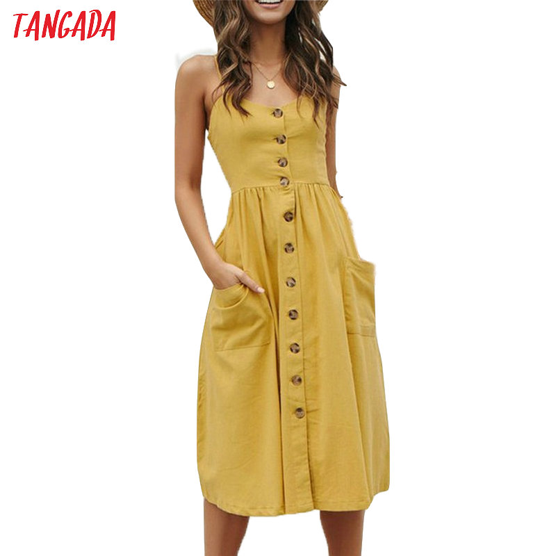Tangada Summer Dress For Women Vintage Sexy Yellow Dress 2019 Spaghetti Strap Sundress Stripe Print Female Midi Dress AON41