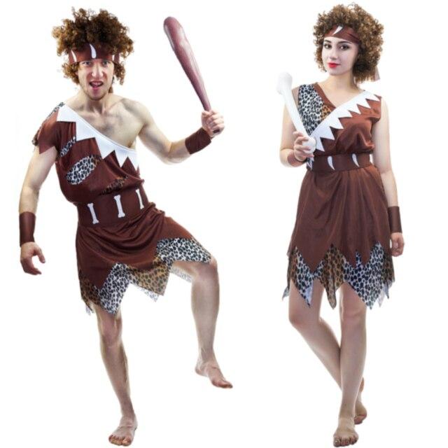 2017 Lovers Cavemen Costume Cavewomen Stone Age Stag Halloween ...