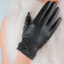 Leather Gloves Fashion Ladies Pure Sheepskin Black Silky Lined Bow Elegant Female Models TB50