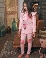 Дети Пижамы устанавливает детские пижамы для девочек Пижамы Infantil Дети Хлопок Кошка Пижама ночное пижамы Девушки ночной рубашке