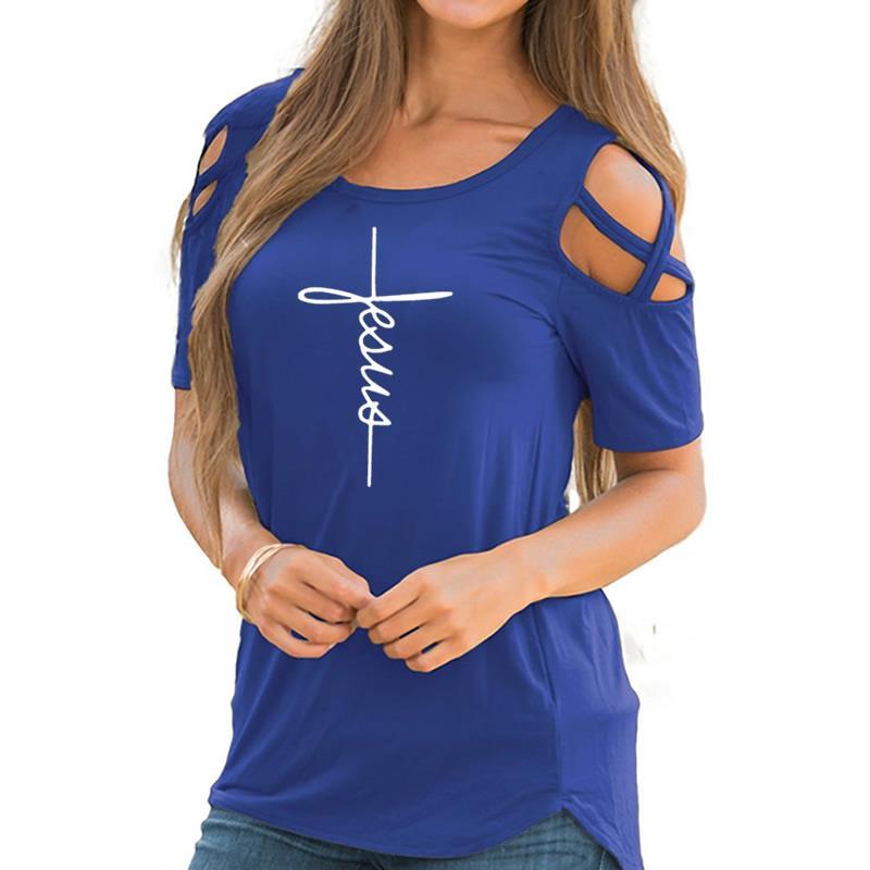 2018 nueva moda Funny imprimir camiseta Tops más tamaño de manga corta Linda camiseta del hombro para las mujeres