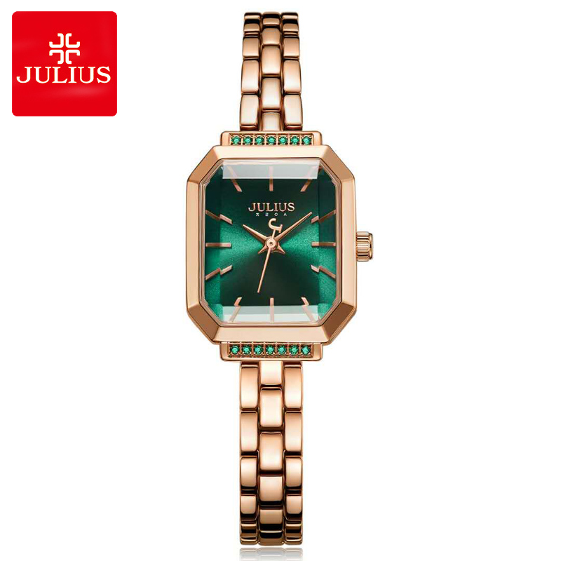 New Julius Women's Watch Japan Quartz Elegant Hours Fashion Dress Chain Bracelet Birthday Girl's Birthday Gift Original Box new simple cutting glass women s watch japan quartz hours fashion dress stainless steel bracelet birthday girl gift julius box