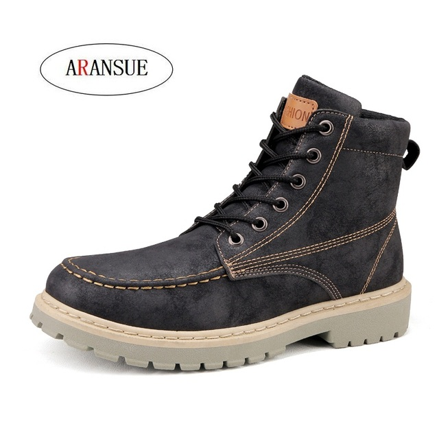 ARANSUE Hot 2018 male leather Work Boots lace up Fashion Martin boots waterproof Tooling Boot