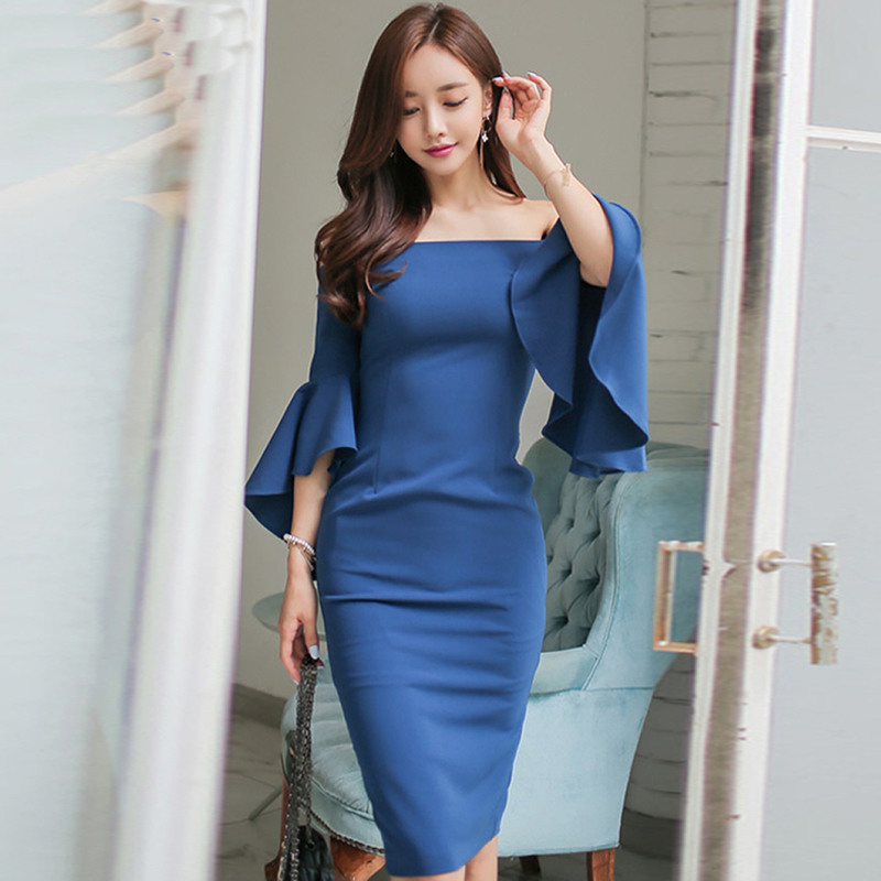 Women Sexy Party Dress Autumn Strapless Flare Sleeve Bodycon Sheath Pencil Midi Vestidos Solid 3 Colors Cloth