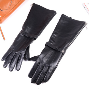 Image 2 - 40cm Mens Black Sheepskin Real Leather Medieval Renaissance Long Cuff  Zipper Knight Gauntlet Elbow Long Gloves