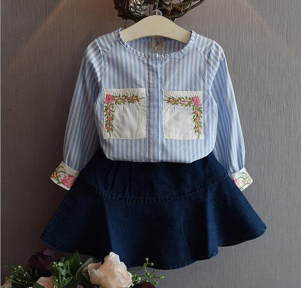 Toddler Girl Clothing Long Sleeve Striped  Print Flower Embroidery Kids Girls Clothes Girls Boutique Clothing Top+Jeans Skirt