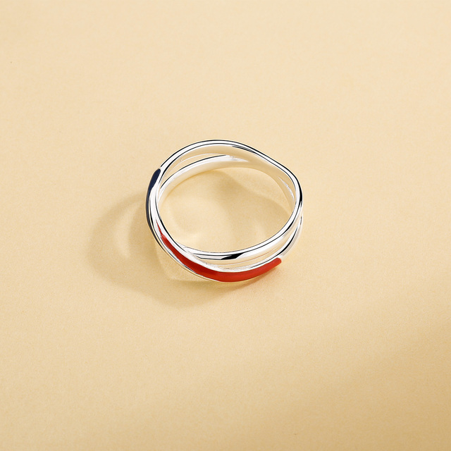 SILVER AGELESS 925 Sterling Silver Europa Red/Blue Stripe Wedding Rings for Women Band Rings 925 Silver Women Rings Double 11