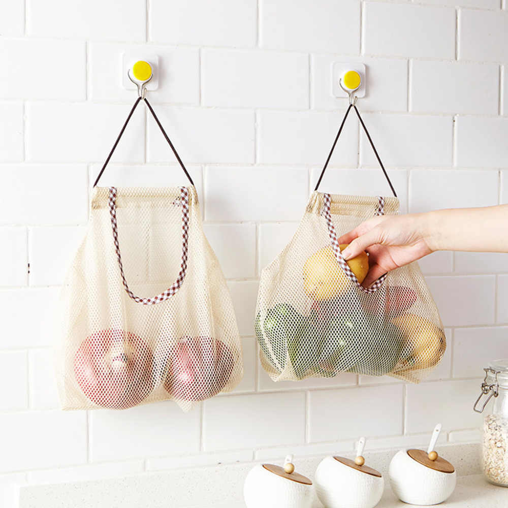 Reusable Cotton Vegetable Bags Home Kitchen Fruit And Vegetable Storage Mesh Bags With Drawstring Washable **C