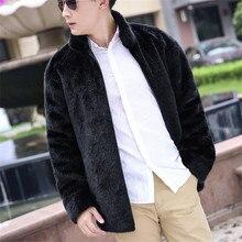 KERUISHU Fashion Fur Faux Fur Coat Men 2017 Winter Imitation Mink Leather Furs Jacket Coat Smart Casual Male Coats Outwear K5