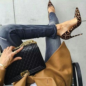 Image 5 - GENSHUO High Heels Shoes Women Pumps Flock Leopard Print Sexy Stilettos 10 12cm Party Heeled Designer Shoes Plus Big Size 11 12