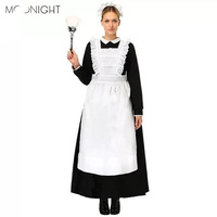 MOONIGHT New Uniform Sexy Cosplay French Maid Costume Servant Halloween Sexy Women Dress Exotic Maid Apparel