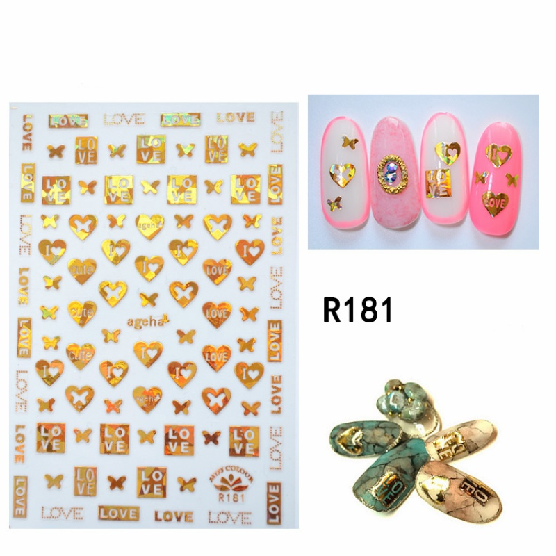 1Sheet Nail Art Sticker Adhesive Laser Golden Handwriting Words Letters Roman Numbers Geometry Heart Kiss Manicure DIY Decal New