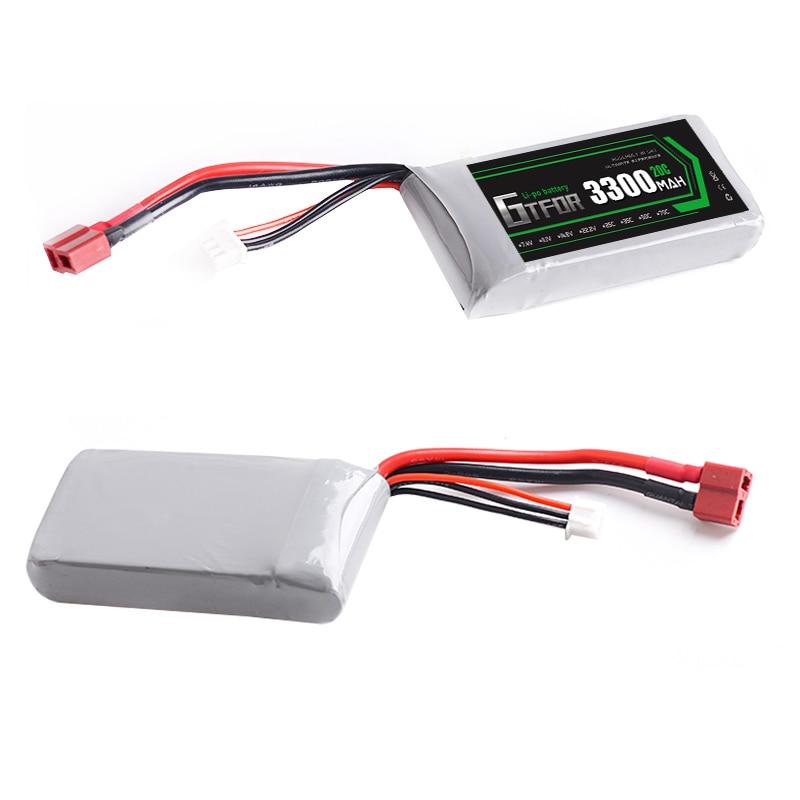 Купить с кэшбэком GTFDR POWER Rc Lipo Battery 2S 7.4V 3300mah 20C Max 30C for feiyue 03 Wltoys 12428 12423 1:12 RC Car Spare parts