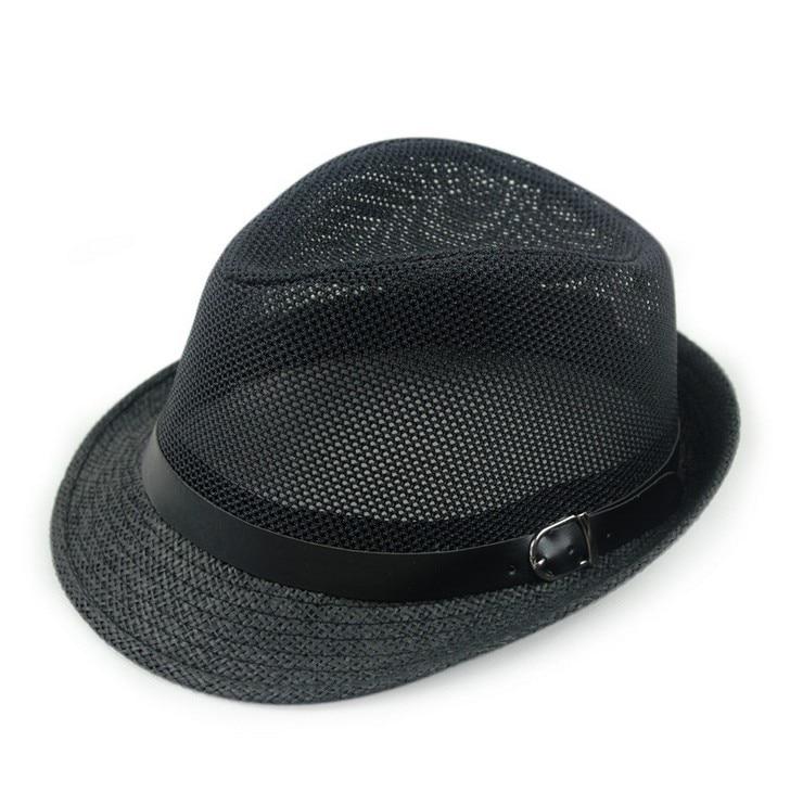 Kagenmo дышащая сетка ремень пряжка летняя соломенная мужская шляпа Корейская пляжная соломенная шляпа женская шляпа солнцезащитный козырек крутая 6 цветов 1 шт - Цвет: D
