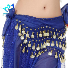 128 Coins Belly Dance Costume Indian Dance Hip Scarf Belt Wrap Skirt Chain Waist Chiffon Bellydance Dancewear