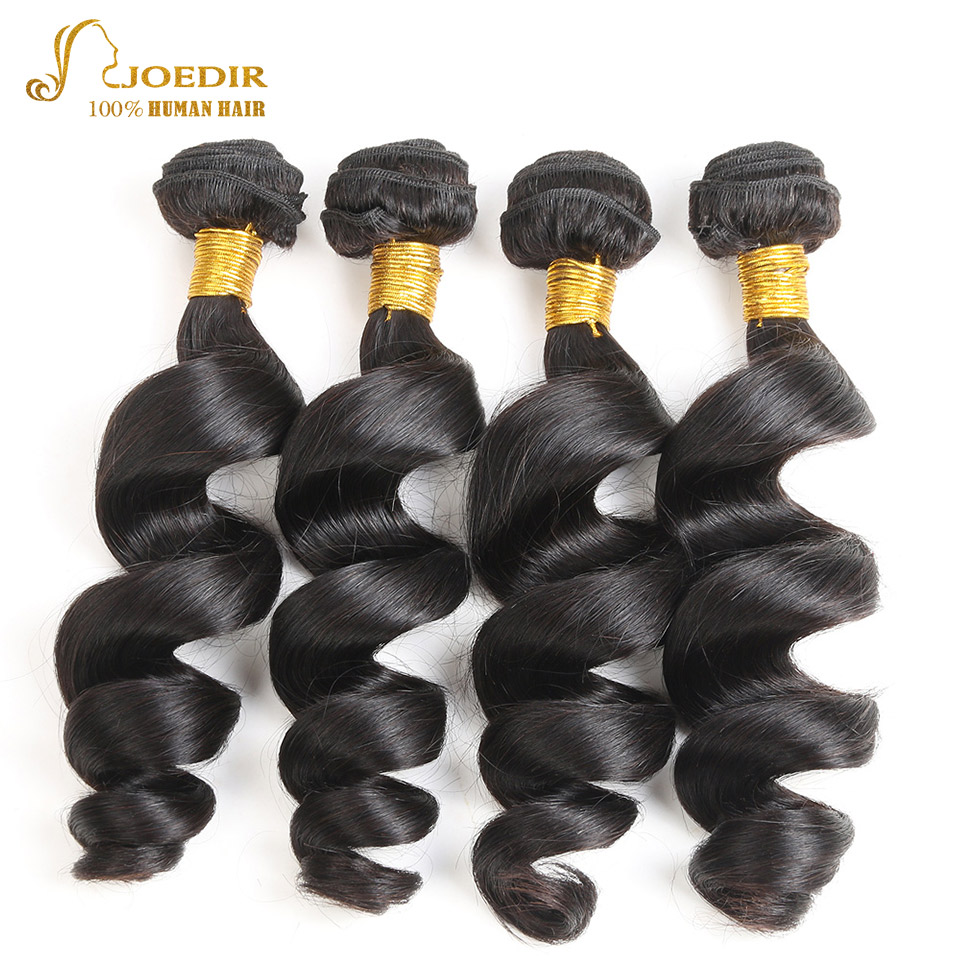 Joedir Wet And Wavy Human Hair Weave 10 To 28 Inches 4 Bundles Deal Loose Wave Raw Indian Hair Bundles 4 Pcs/Lot Hair Extension