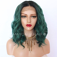 2 Tones Black Ombre Green/Grey Synthetic Lace Front Wigs Heat Resistant Fiber Hair Dark Roots Short Wavy Hair For Women