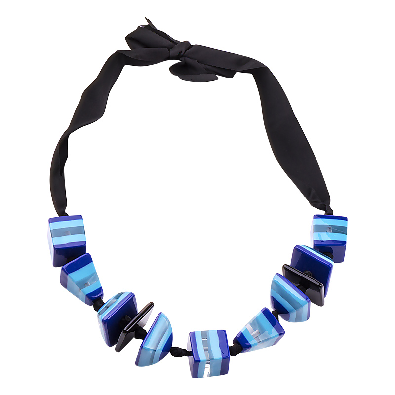 GuanLong Cloth Ribbon 3D Geometric Pendant Necklaces For Women Winner Clothing Accessories image