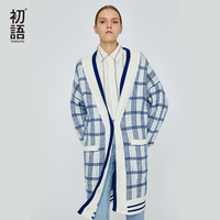 Toyouth Blue Plaid Cardigan Oversized Long Cardigan Casual Korean Winter Cardigans Ladies Christmas Sweater Harajuku Jumper