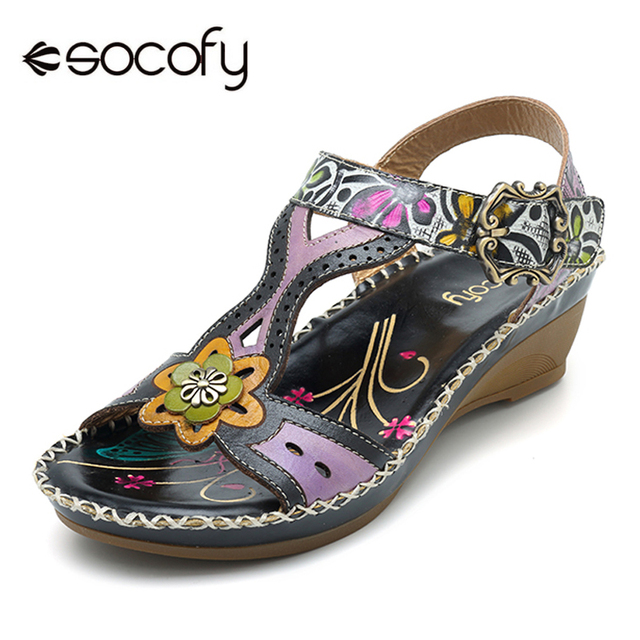 4425e9a8f153 Socofy Handmade Bohemian Sandals Women Shoes Genuine Leather Printed Forest  Beach Sandals Wedge Hook Loop Retro Summer Shoes New